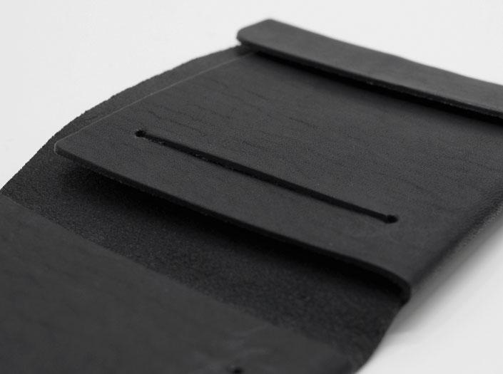 二つ折り財布のディテールのアップ
