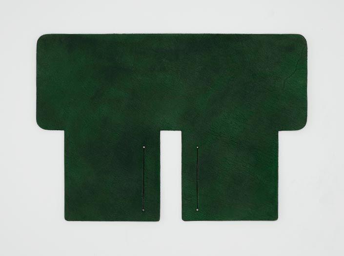 製品染めグリーン×ブラウン:札ケース(二つ折り財布)の表面