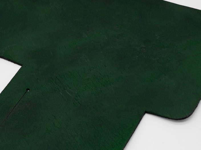 製品染めグリーン×ブラウン:札ケース(二つ折り財布)のディテール
