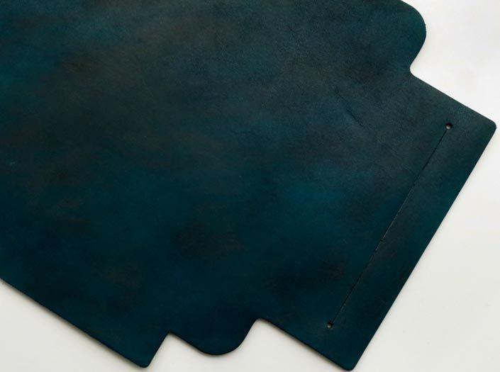 製品ムラ染めディープマリンブルー:札ケース(長財布)のディテール